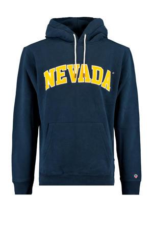 hoodie Sage Nevada met tekst donkerblauw