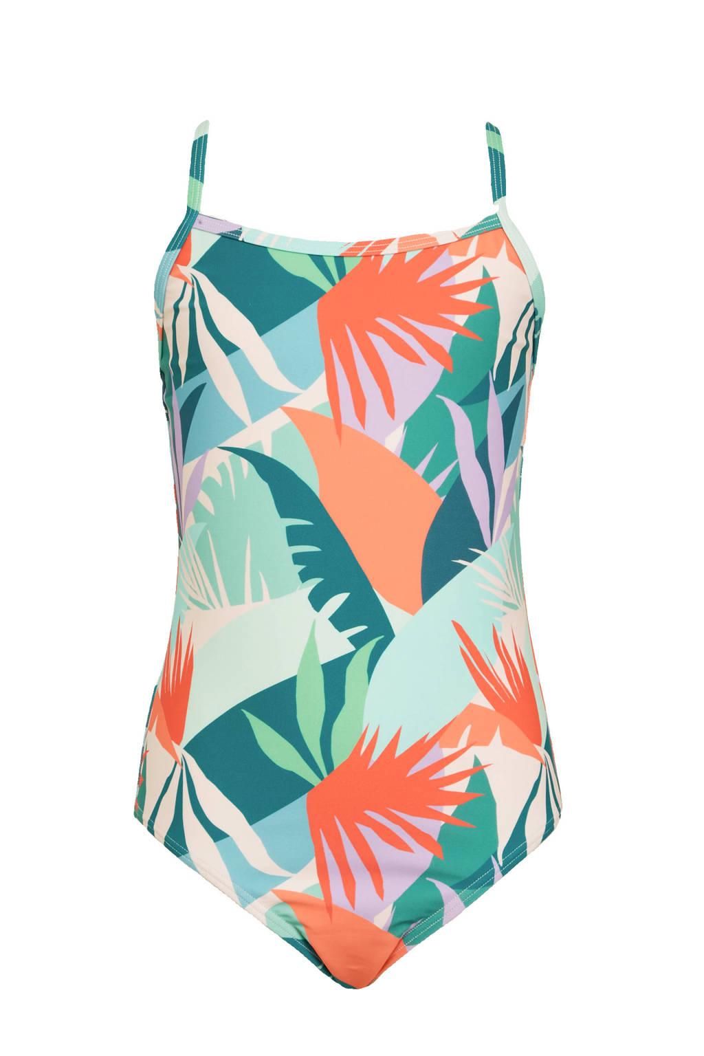 BEACHWAVE meisjes badpak met all over print groen/oranje, Groen/oranje