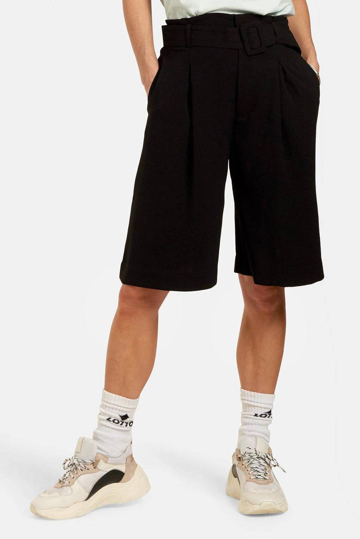 Shoeby Eksept high waist wide leg bermuda Chevre zwart, Zwart