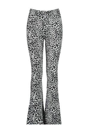 flared broek Philou met dierenprint zwart/wit