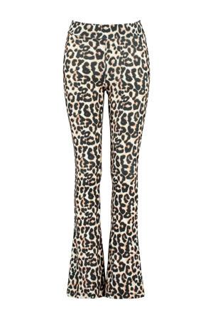 flared broek Philou met zebraprint zwart/grijs