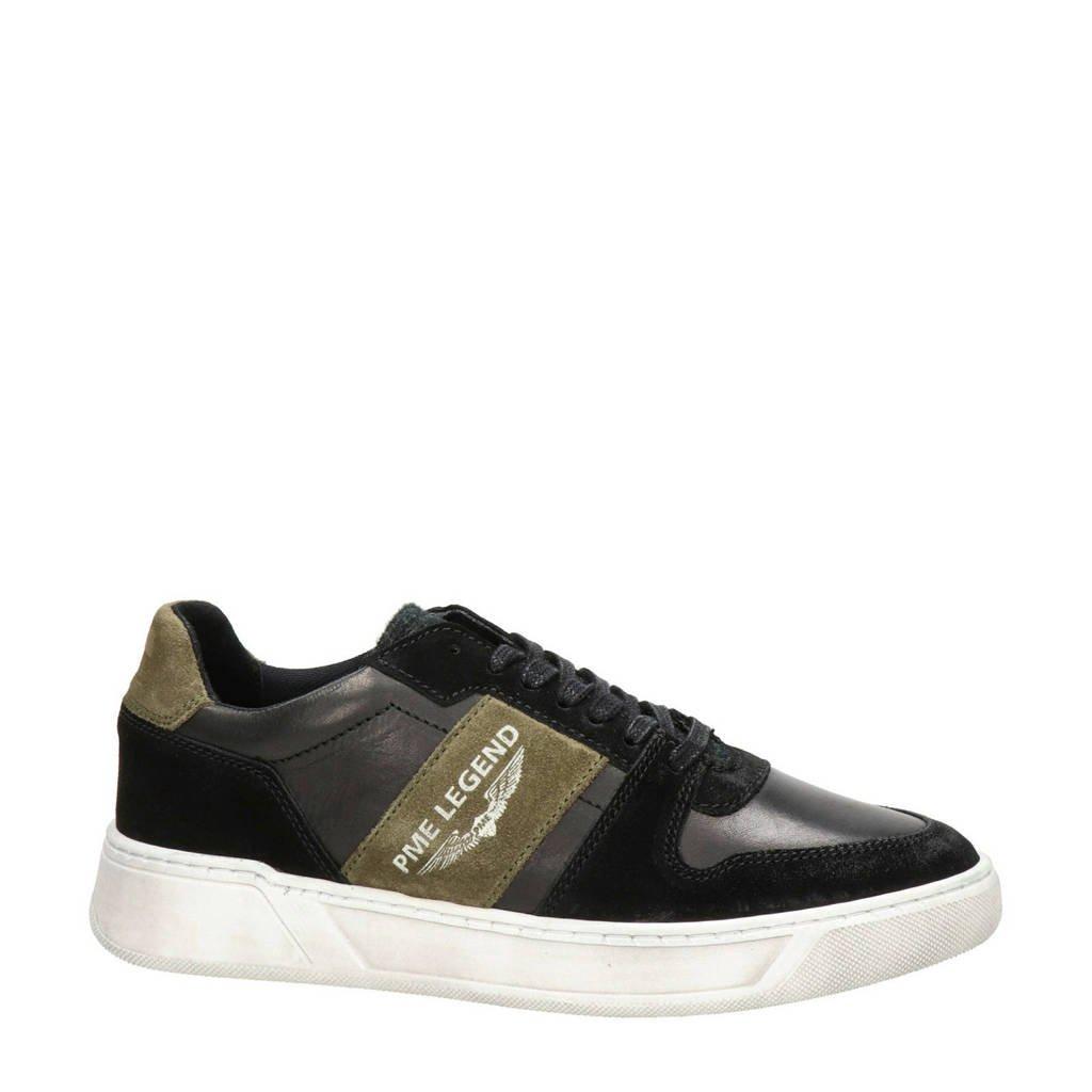 PME Legend Flettner  leren sneakers zwart, Zwart