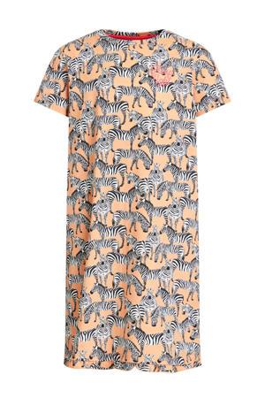 nachthemd met dierenprint oranje/zwart/wit