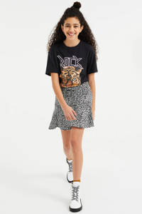 WE Fashion oversized T-shirt met print zwart, Zwart