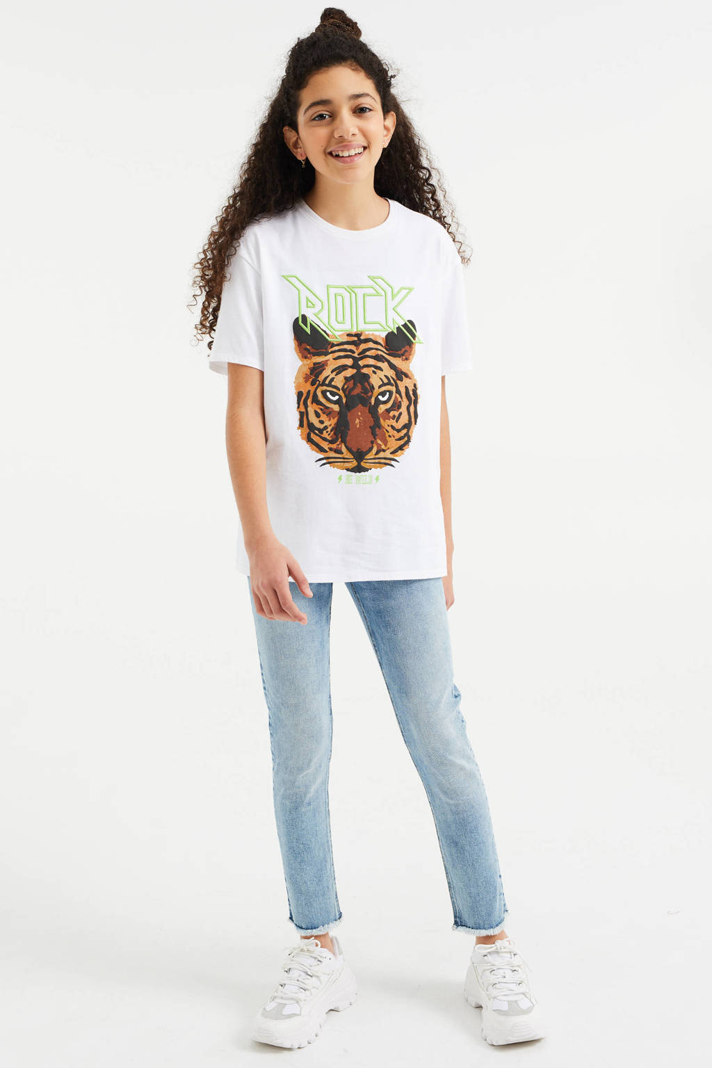 WE Fashion oversized T-shirt met print wit, Wit