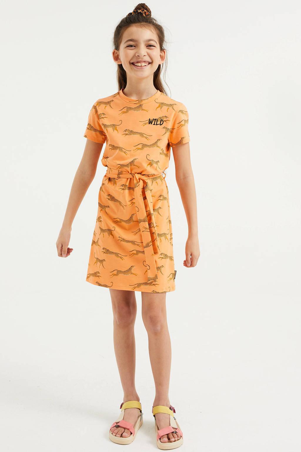 WE Fashion jurk met dierenprint en borduursels oranje, Oranje