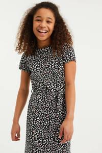 WE Fashion maxi jurk met all over print en ceintuur zwart/wit, Zwart/wit