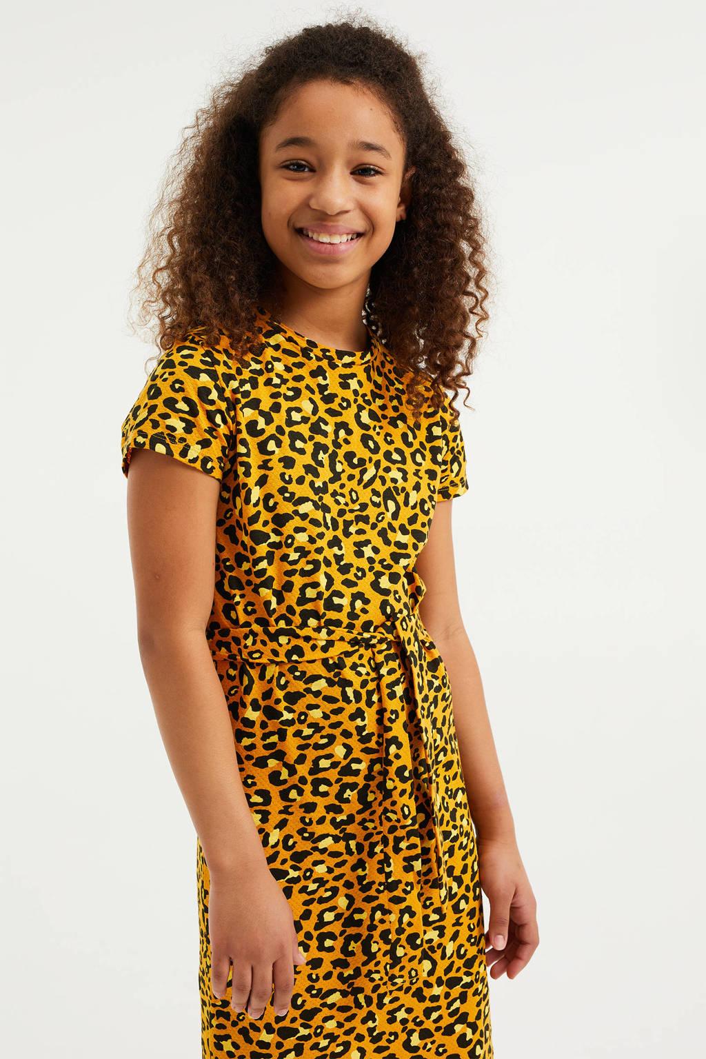 WE Fashion maxi jurk met dierenprint en ceintuur kerrie/zwart, Kerrie/zwart