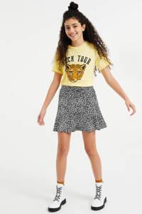 WE Fashion oversized T-shirt met print lichtgeel, Lichtgeel