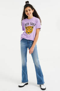 WE Fashion oversized T-shirt met print lila, Lila