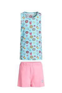 WE Fashion shortama met all over print roze/blauw, Roze/blauw