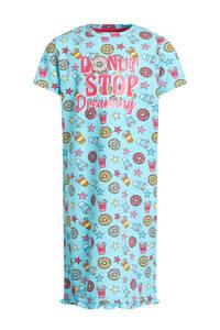 WE Fashion nachthemd met all over print blauw/koraalrood, Blauw/koraalrood