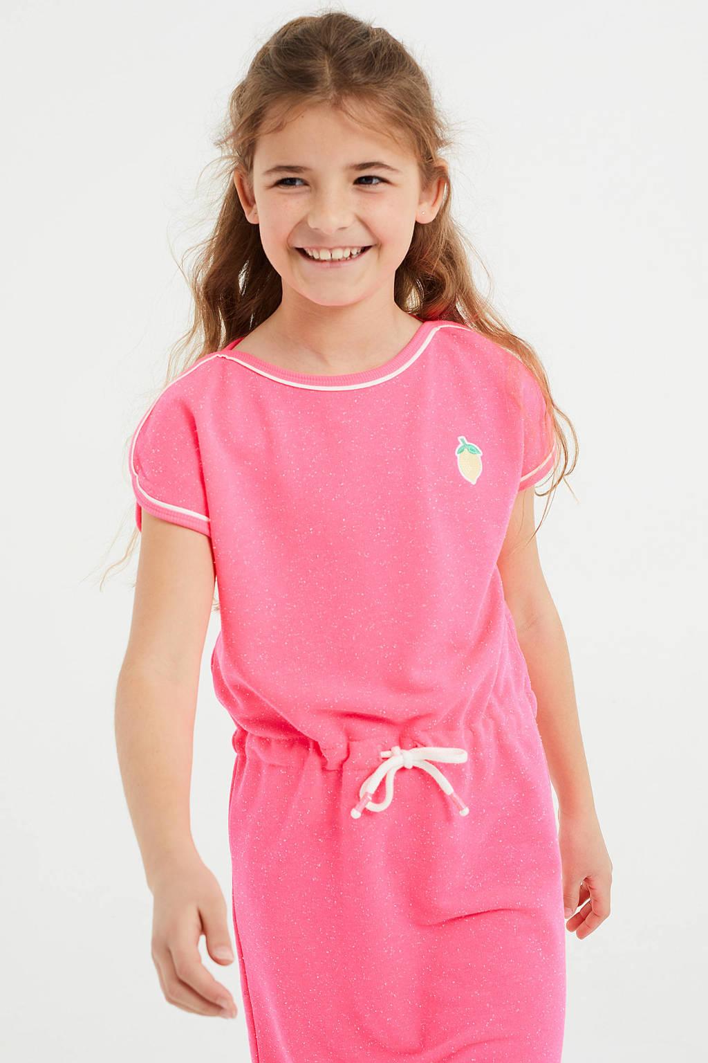 WE Fashion jurk met printopdruk en borduursels roze/wit, Roze/wit