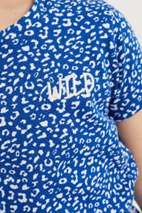 WE Fashion jurk met dierenprint en borduursels blauw/wit, Blauw/wit