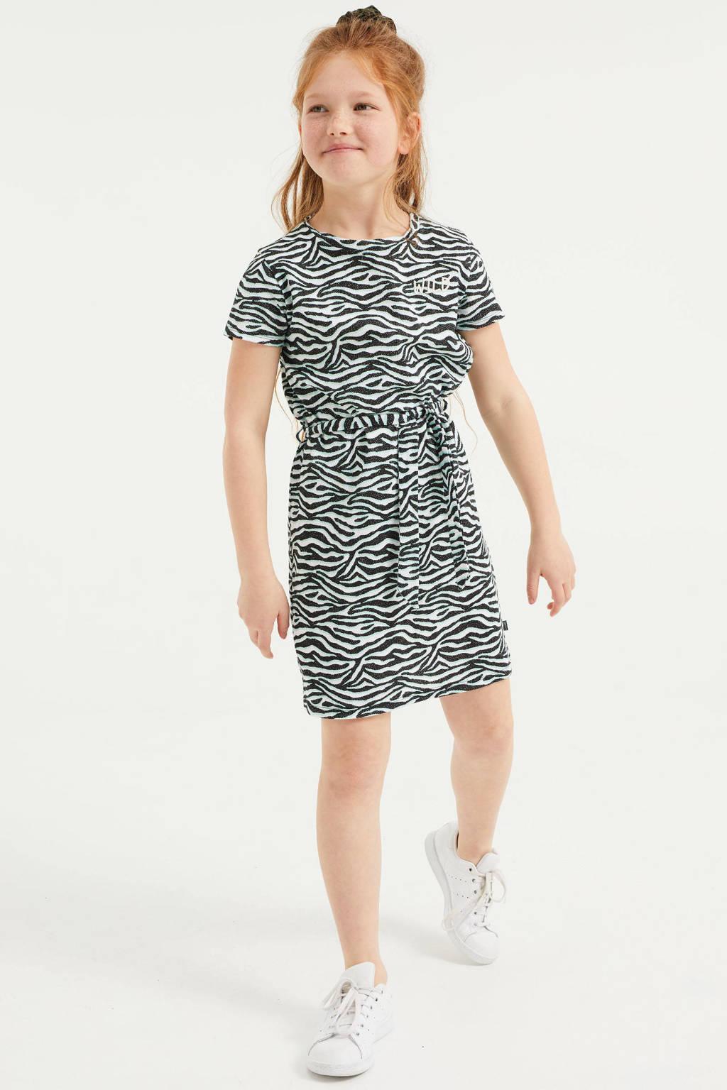 WE Fashion jurk met zebraprint en ceintuur zwart/wit/groen, Zwart/wit/groen
