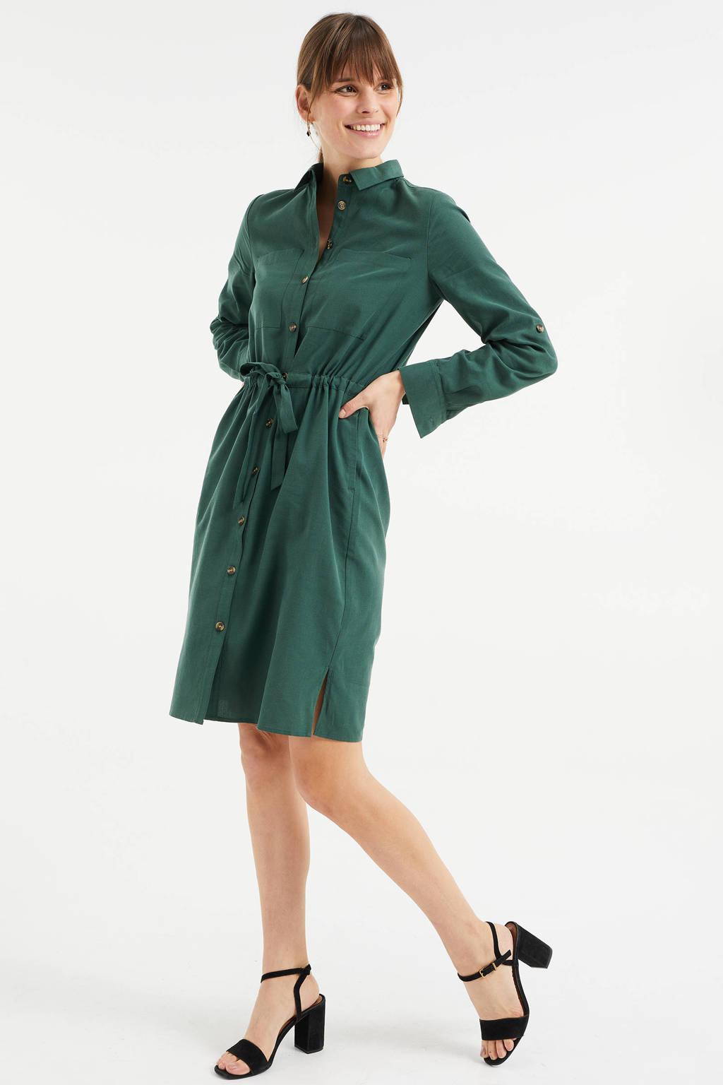 WE Fashion blousejurk donkergroen, Donkergroen