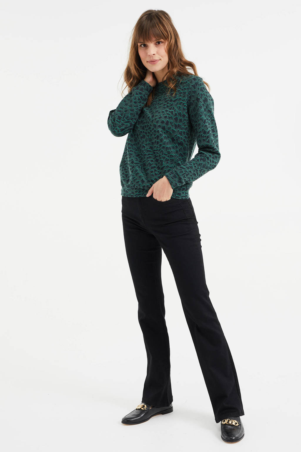 WE Fashion sweater met all over print trekking green, Trekking Green
