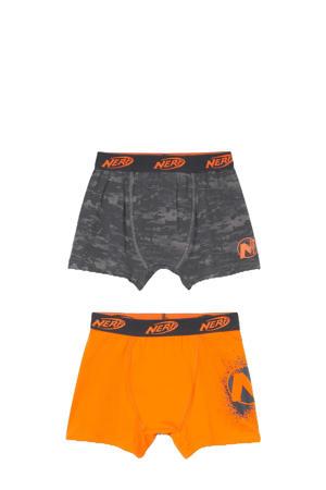 boxershort - set van 2 oranje/grijs