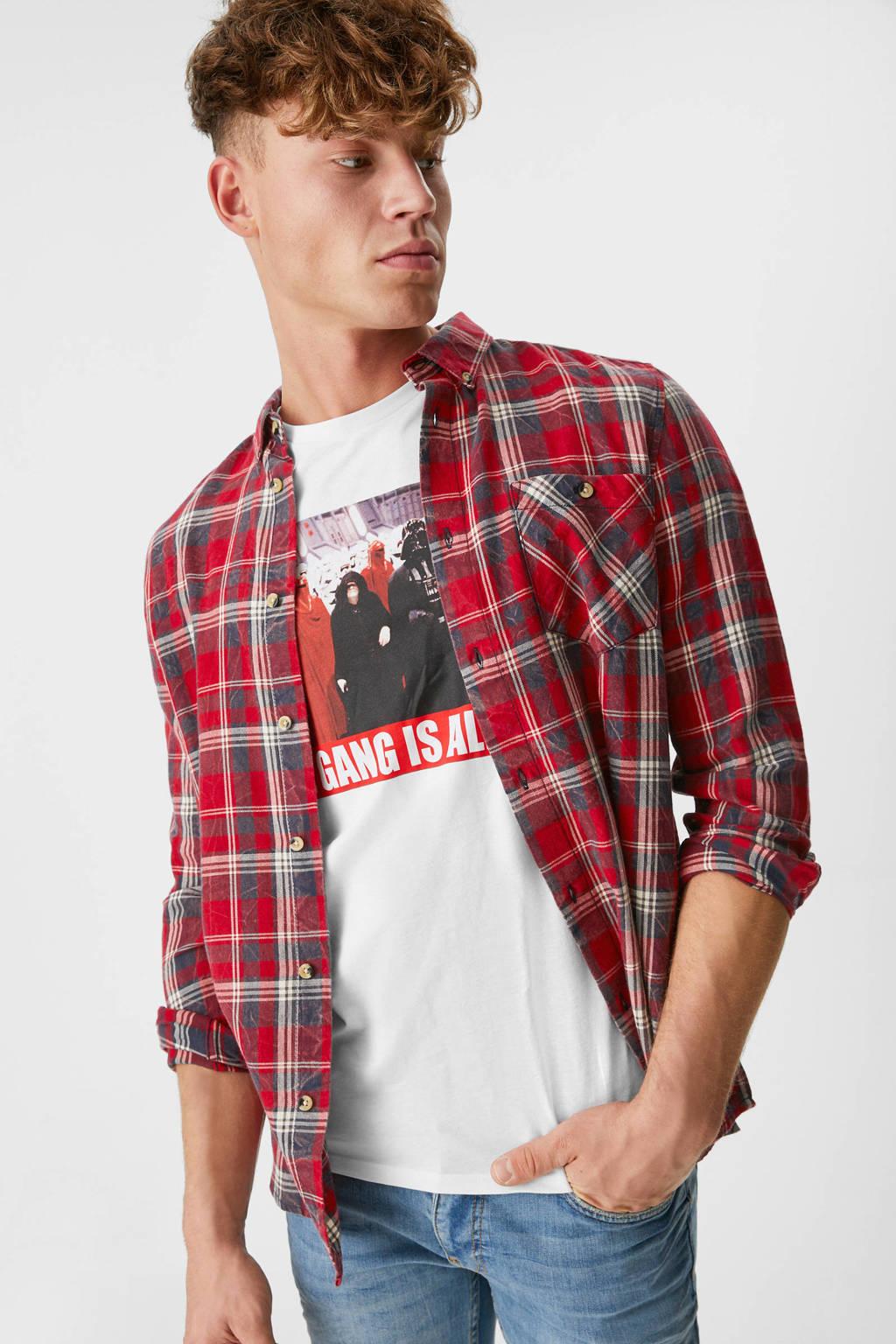 C&A Clockhouse geruit regular fit overhemd rood, Rood
