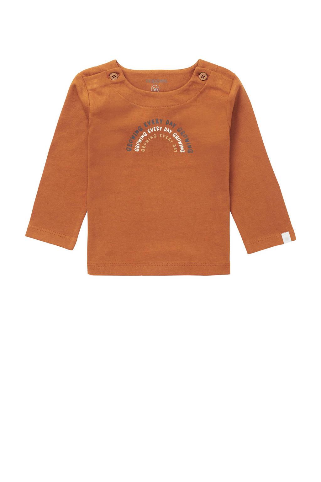 Noppies baby longsleeve Shields met biologisch katoen bruin, Bruin