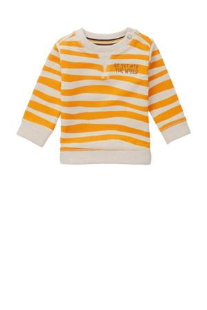 baby sweater Tullah met dierenprint ecru/okergeel