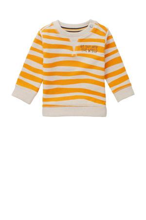 sweater Tullah met dierenprint ecru/okergeel