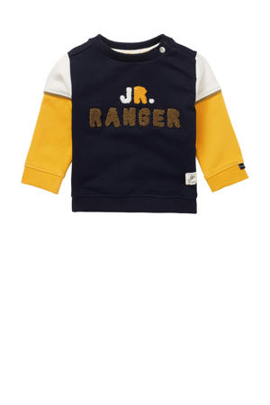 baby sweater Turves met biologisch katoen donkerblauw/geel/wit