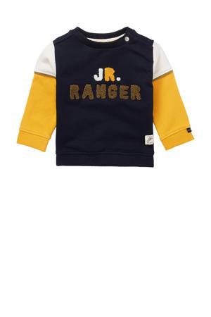 sweater Turves met biologisch katoen donkerblauw/geel/wit