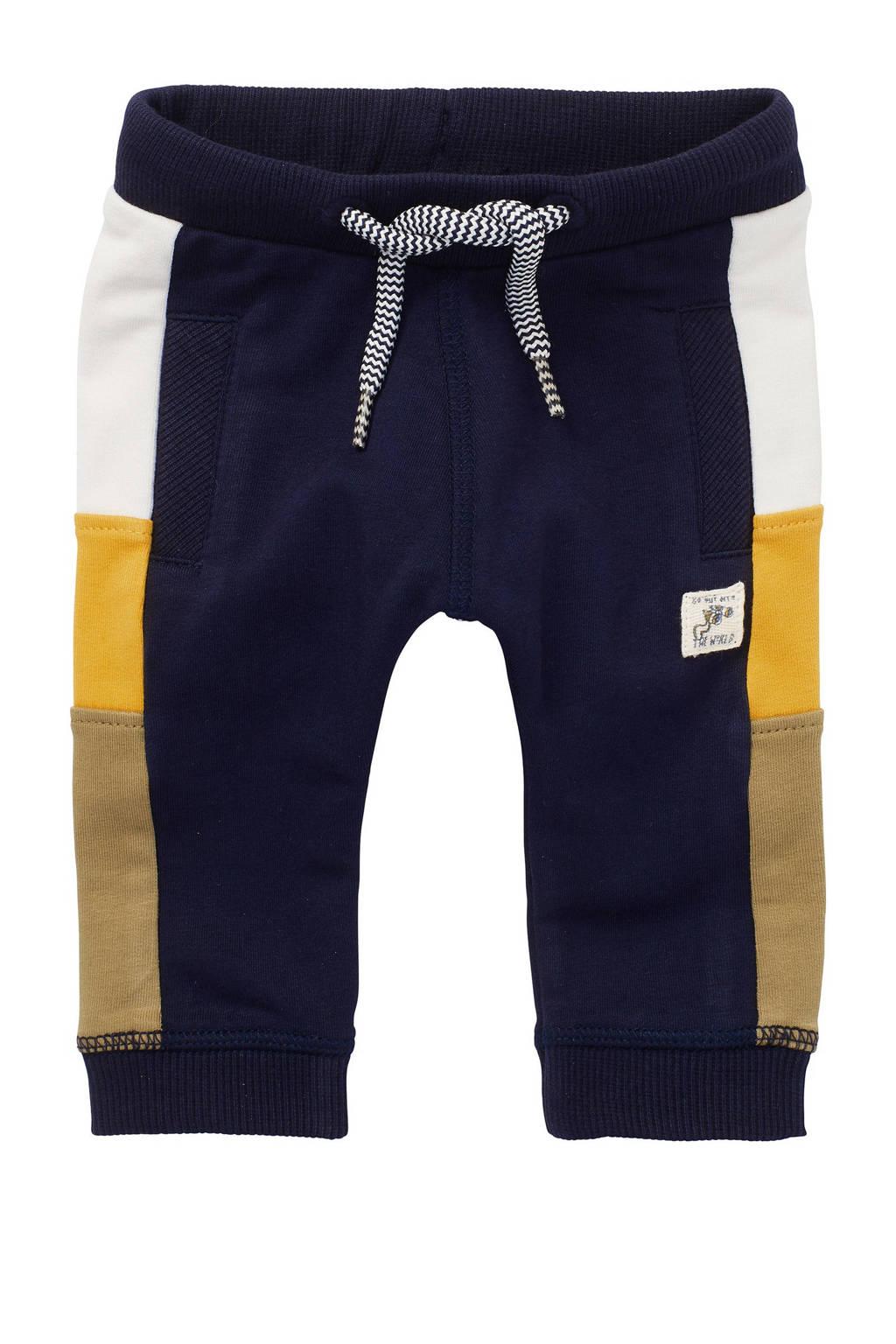 Noppies baby regular fit joggingbroek Tebworth met biologisch katoen donkerblauw/geel/camel, Donkerblauw/geel/camel