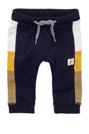baby regular fit joggingbroek Tebworth met biologisch katoen donkerblauw/geel/camel