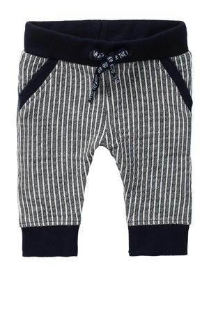 baby gestreepte slim fit joggingbroek Thame met biologisch katoen donkerblauw/wit