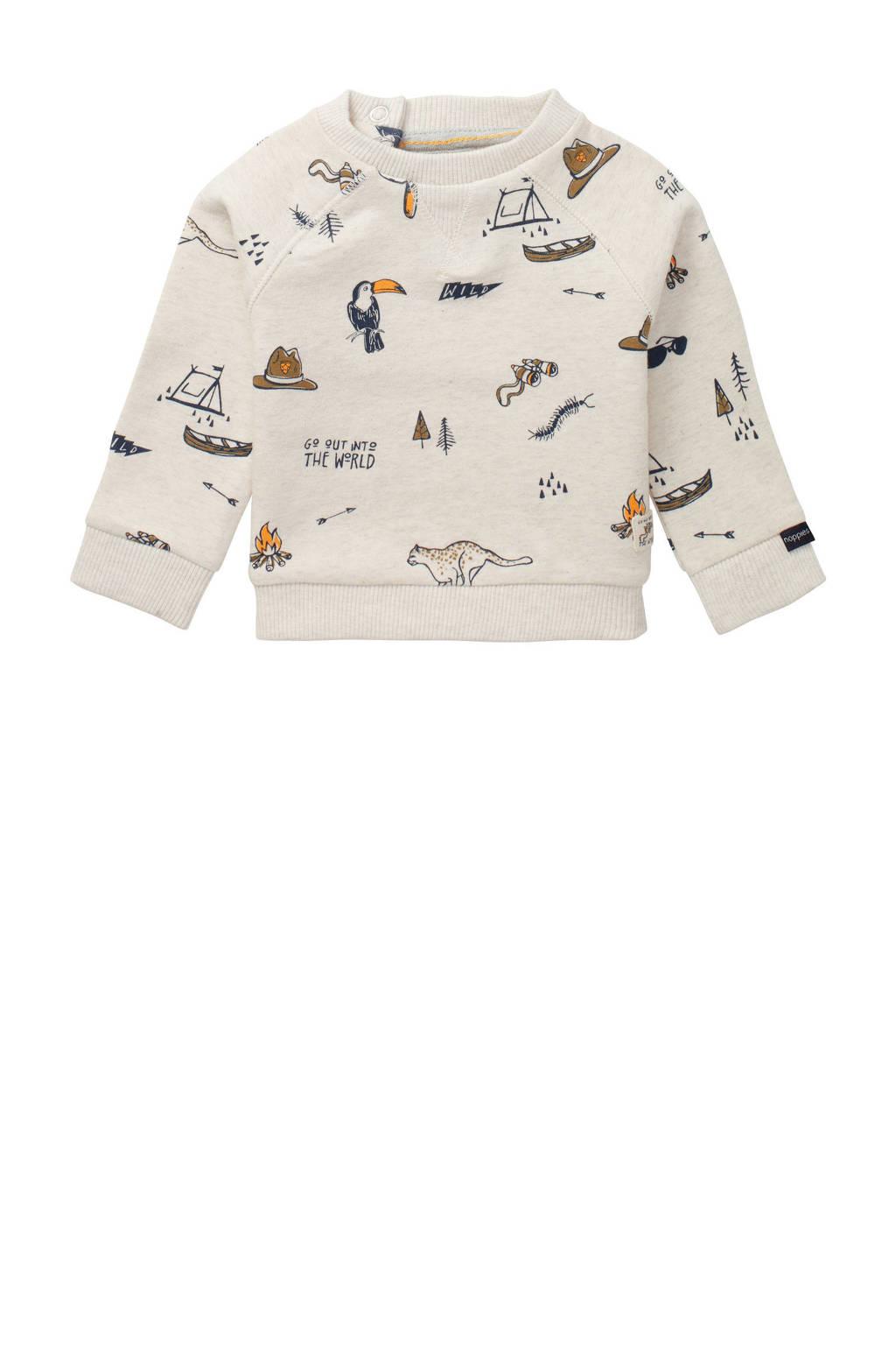 Noppies baby sweater Tilbrook met biologisch katoen ecru/donkerblauw/bruin