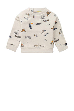 baby sweater Tilbrook met biologisch katoen ecru/donkerblauw/bruin