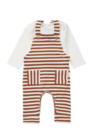 newborn baby tuinbroek + romper bruin/ecru
