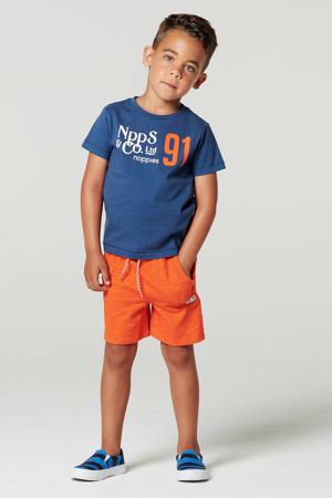 T-shirt Listerdrive van biologisch katoen blauw/wit/oranje