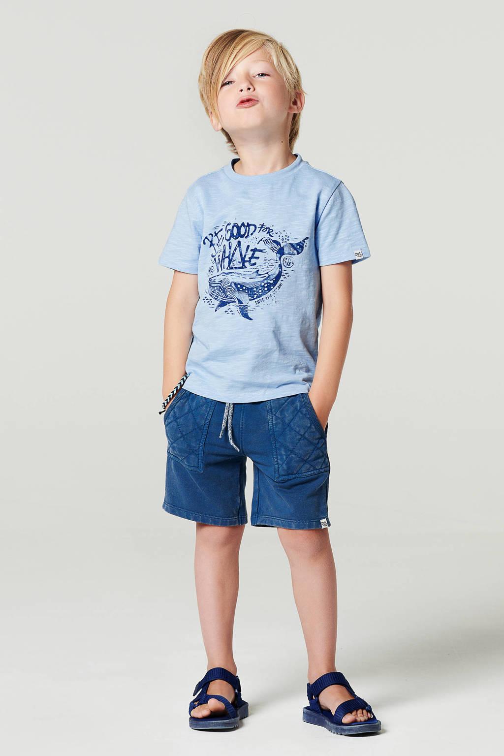 Noppies sweatshort Liberato met textuur donkerblauw, Donkerblauw