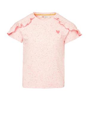 T-shirt Littlenorway met all over print en ruches lichtroze