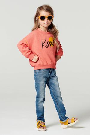 sweater Luscome met tekst en ruches donker oudroze