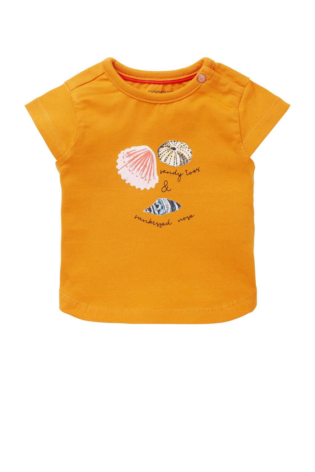 Noppies baby T-shirt Medulla met printopdruk oranje, Oranje