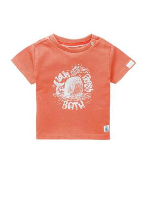 baby T-shirt B T-shirt SS Twisk met biologisch katoen oranje/wit