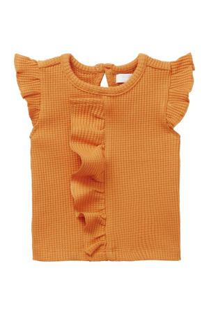 baby T-shirt Merial met ruches oranje