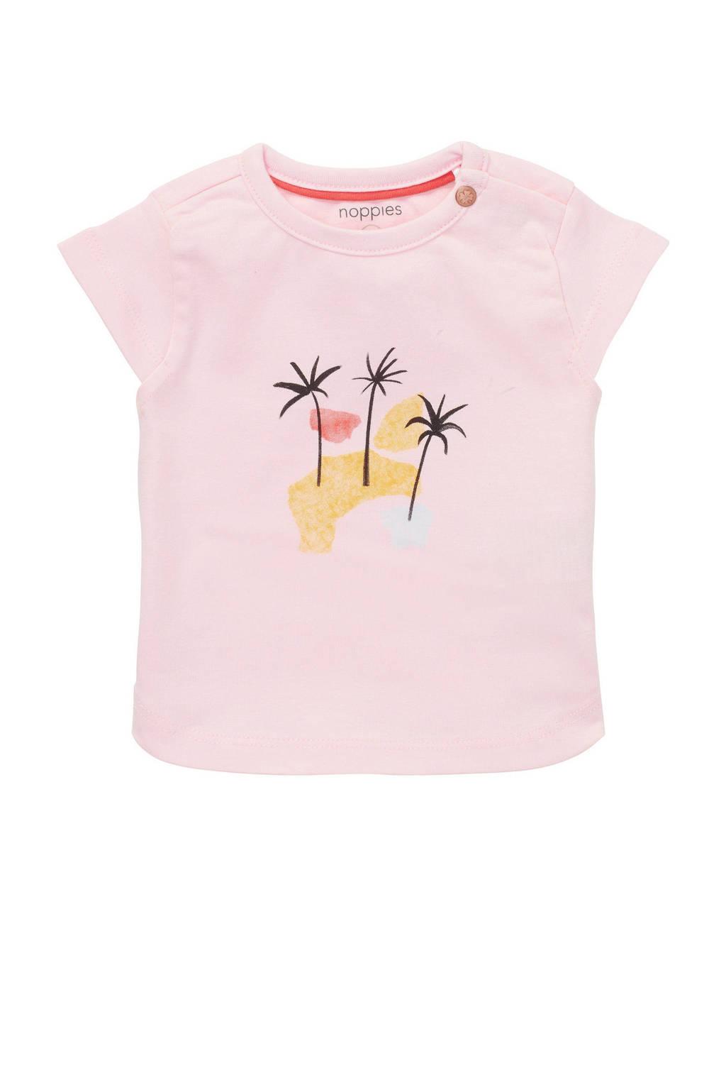 Noppies baby T-shirt Medulla met printopdruk lichtroze/geel, Lichtroze/geel