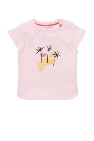 baby T-shirt Medulla met printopdruk lichtroze/geel
