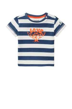 baby gestreept T-shirt Taormina wit/blauw/oranje