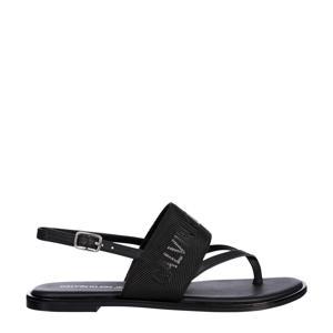 sandalen met logo zwart