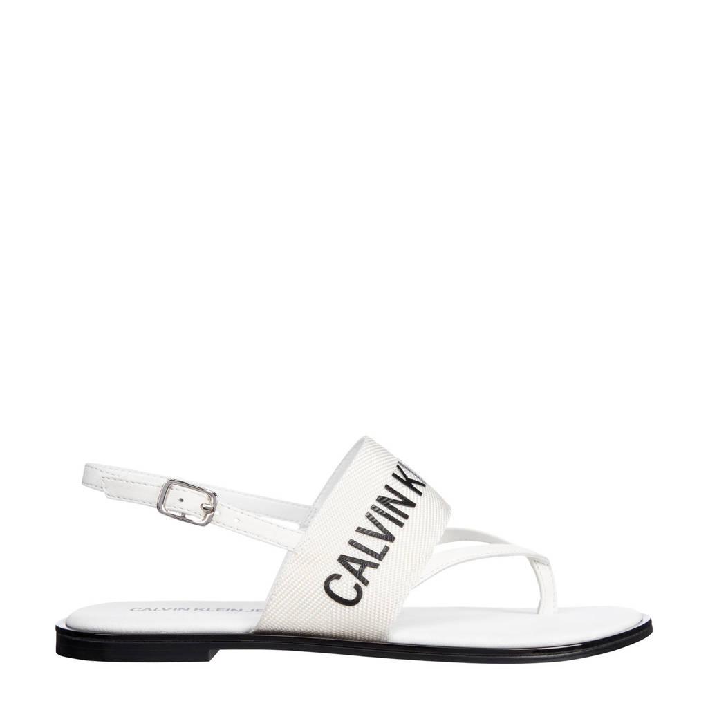 CALVIN KLEIN JEANS   sandalen met logo wit, Wit/zwart