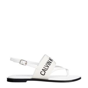 sandalen met logo wit