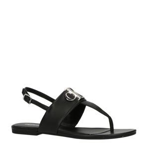 leren sandalen zwart/zilver