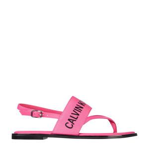sandalen met logo roze