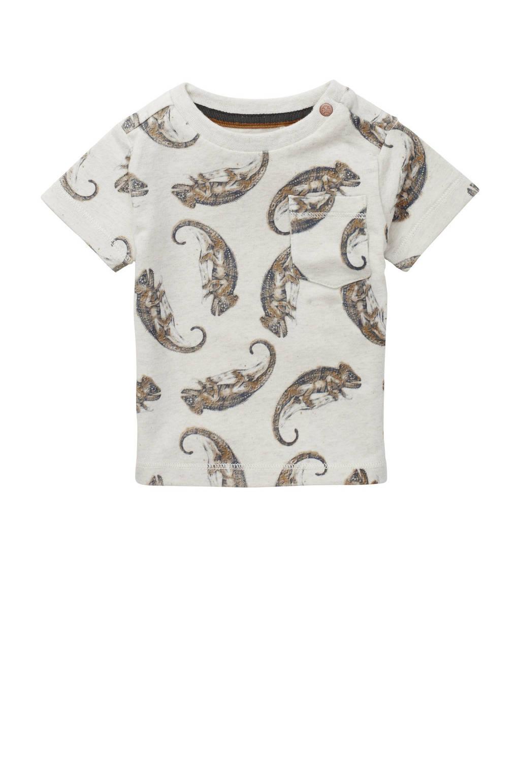 Noppies baby T-shirt Tyenna met biologisch katoen beige/bruin, Beige/bruin
